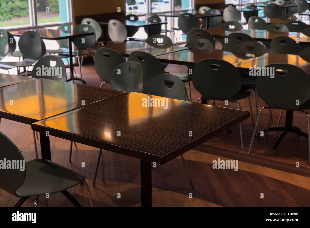 Clean cafeteria tables - Cafeteria Tables And Chairs Clean In A Row