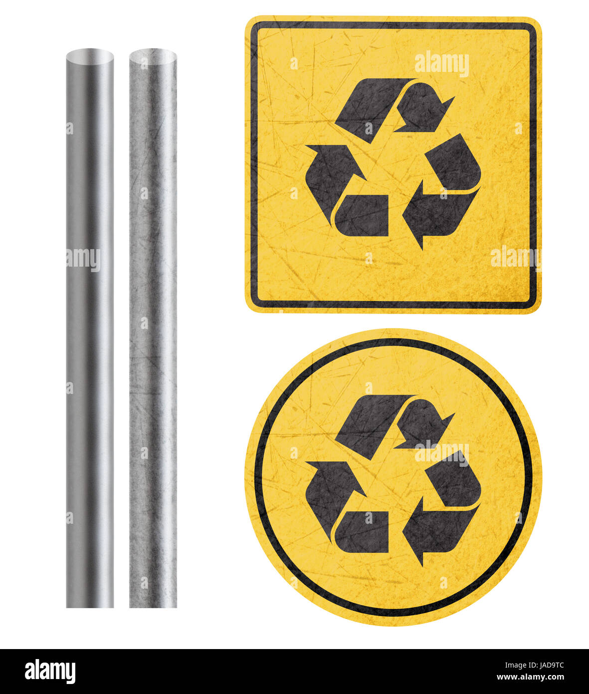 Recycle symbol on yellow sign with metal bar isolated in white recycle symbol on yellow sign with metal bar isolated in white with clipping work path buycottarizona Choice Image