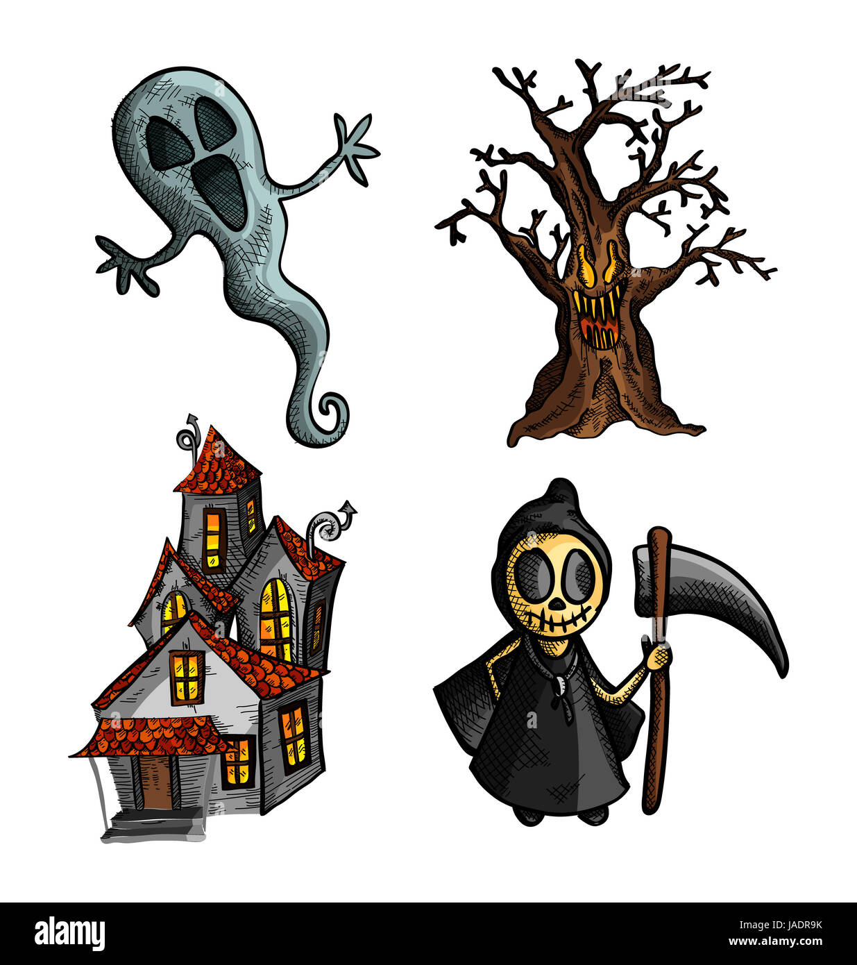 Halloween Monsters isolated spooky hand drawn haunted creatures ...