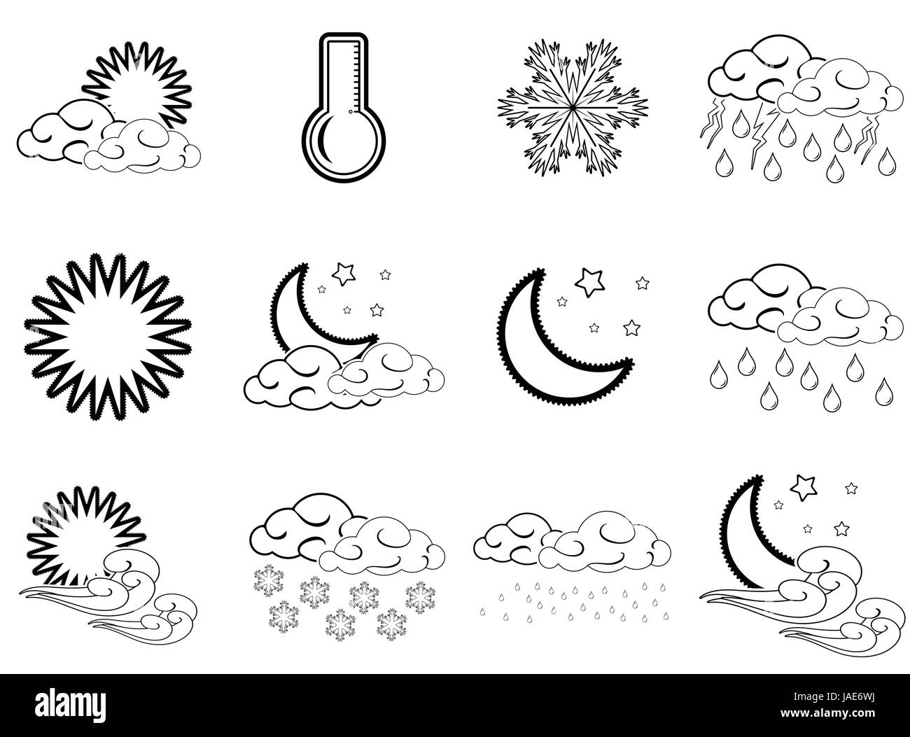 Night day weather colour icons set black outlined isolated on white ...