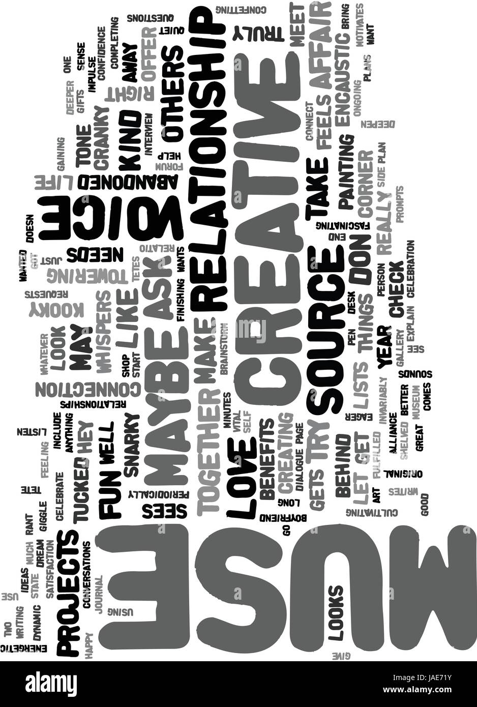 Your Love Affair With Your Muse Text Word Cloud Concept