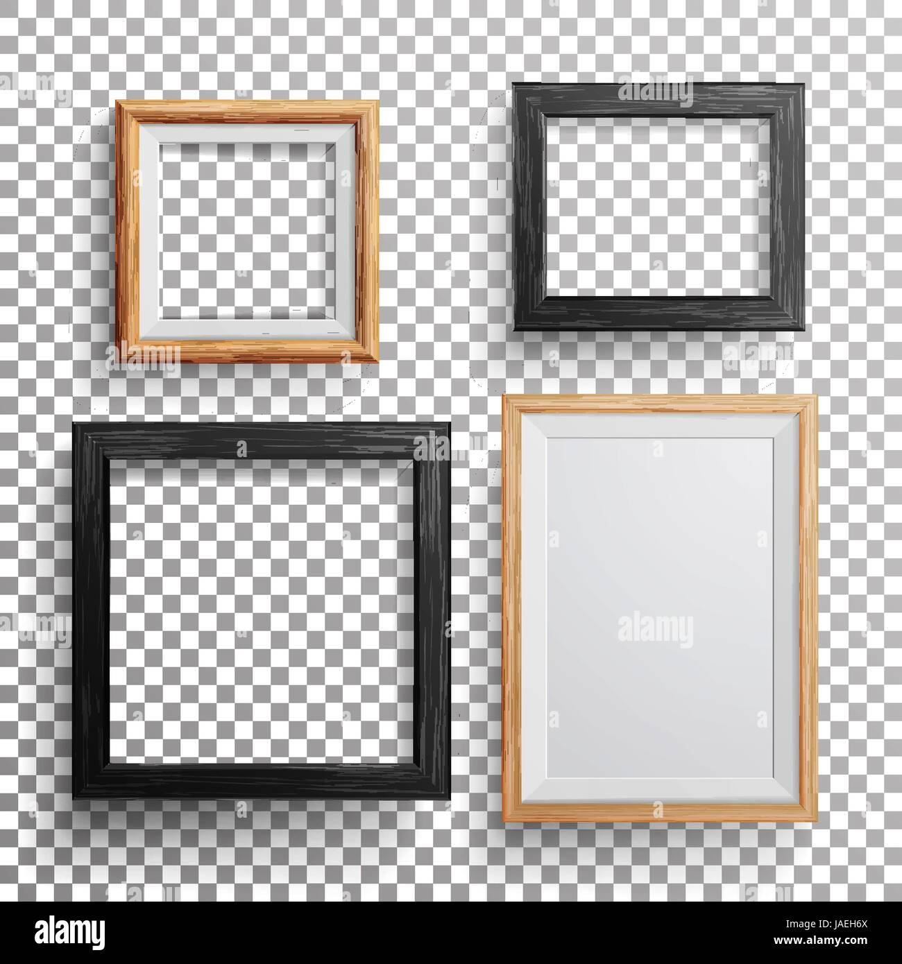 Realistic photo frame vector 3d set square a3 a4 sizes light realistic photo frame vector 3d set square a3 a4 sizes light wood blank picture frame hanging on transparent background with soft transparent shad jeuxipadfo Gallery