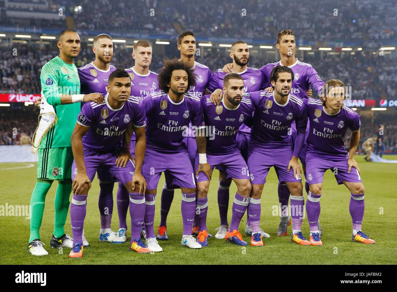 Cardiff Wales 3rd June 2017 Real Madrid Team Group Line