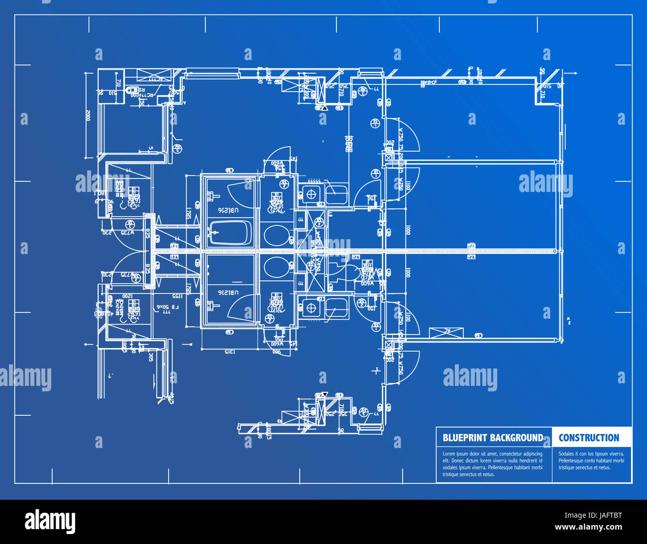 Exceptionnel Sample Of Architectural Blueprints Over A Blue Background / Blueprint