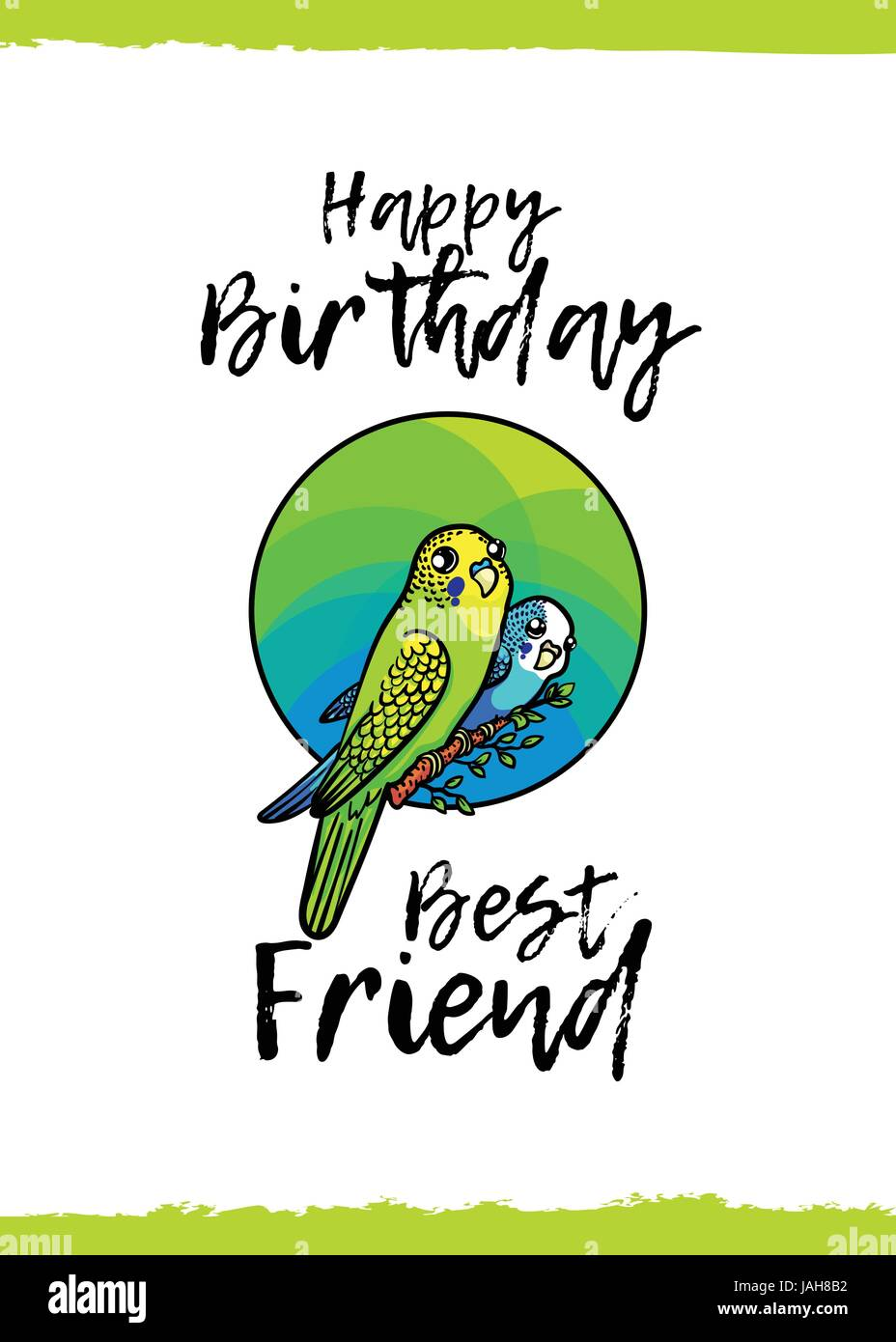 Happy birthday best friend greeting card with a cute animal and best friend greeting card with a cute animal and kind wish cartoon style a pair of colored small parrots on branch in circle suita kristyandbryce Image collections