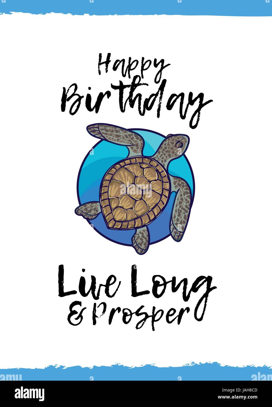 Happy birthday live long and prosper greeting card with a cute happy birthday live long and prosper greeting card with a cute animal and kind wish cartoon style suitable for kids congratulations green sea tu bookmarktalkfo Images