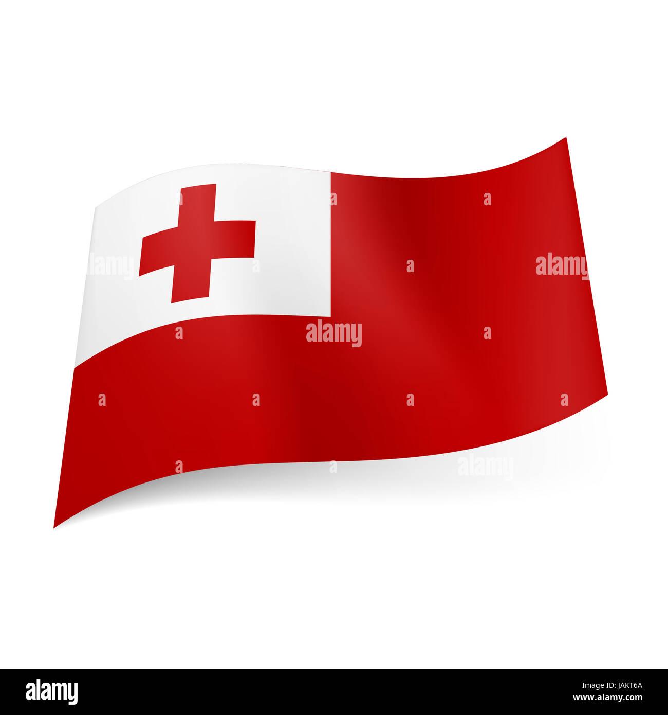 National Flag Of Tonga Red Cross In White Square Upper Left Corner Field
