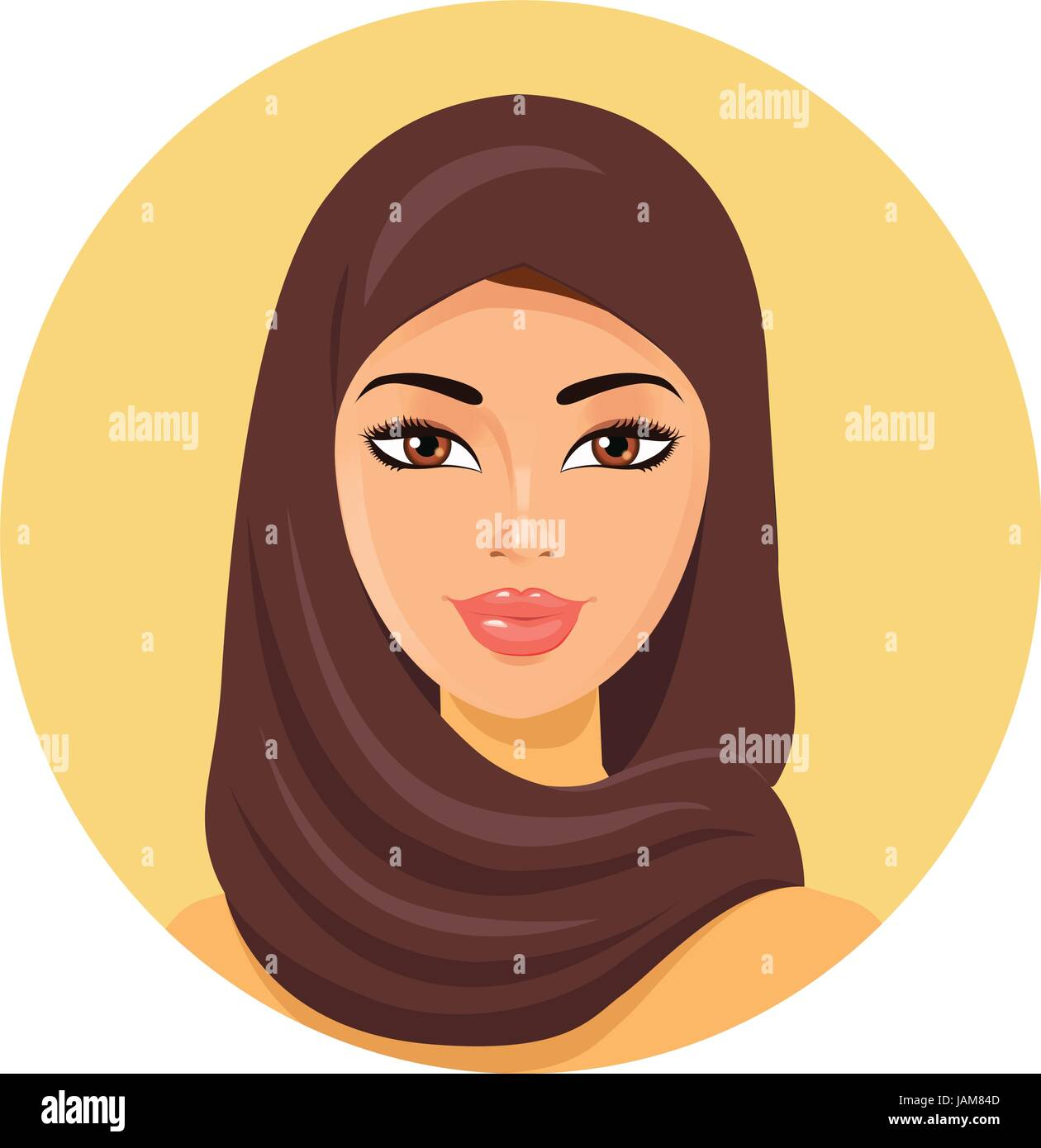 beautiful young happy muslim woman in hijab vector flat email icon vector circle email icon vector circle