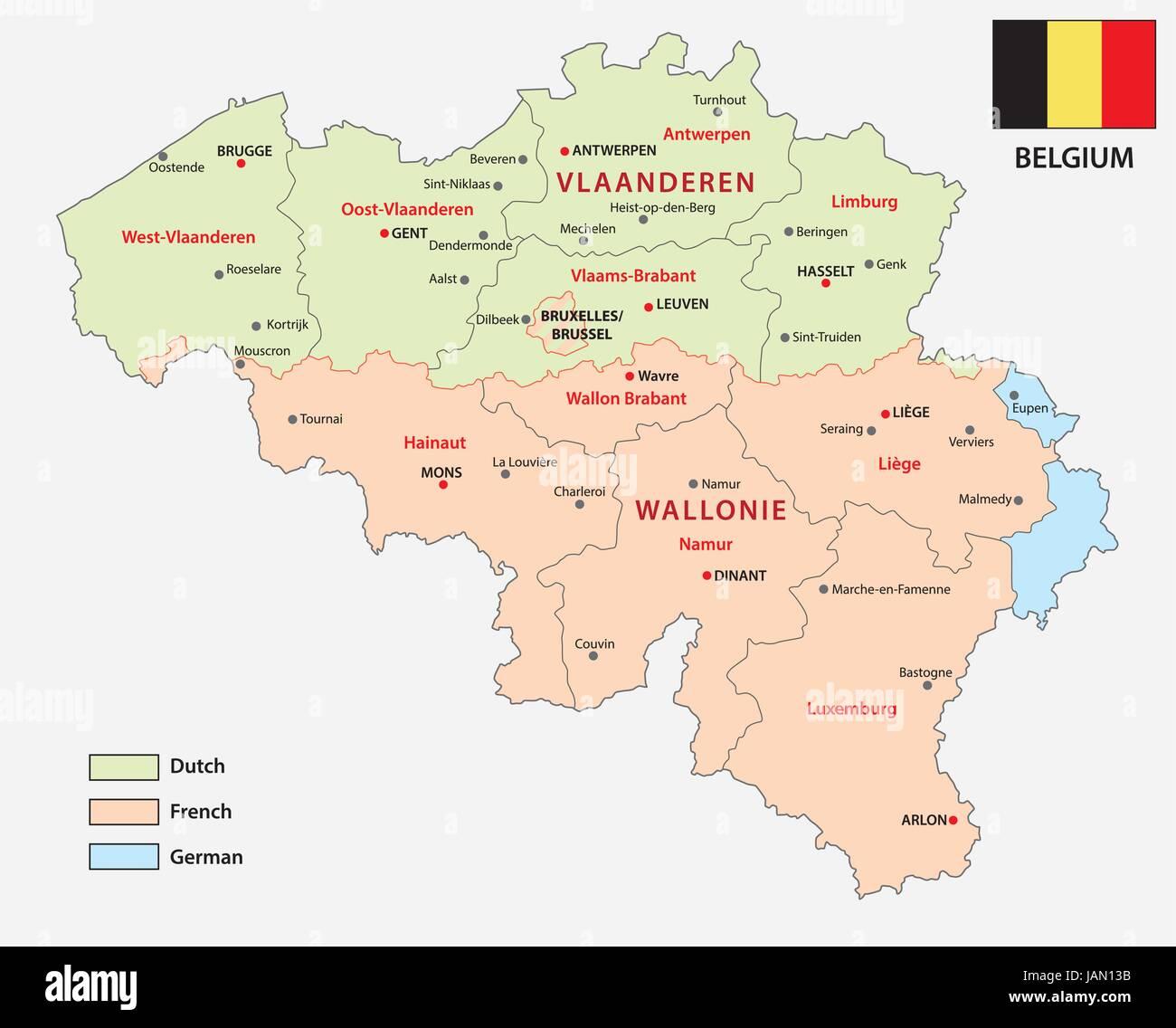 Map Of The Belgian Regions And Language Areas Stock Vector Art - Belgium regions map