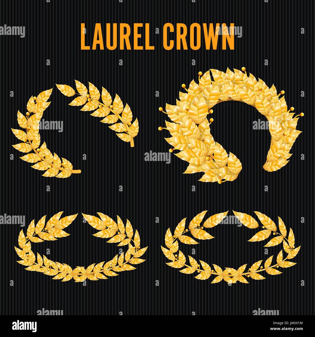 Laurel crown set greek wreath with golden leaves vector for Laurel leaf crown template