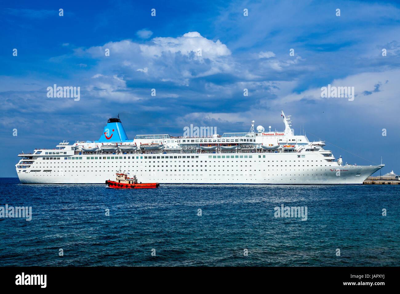 The Thomson Dream Cruise Ship Departing Rhodes Harbour Rhodes - The thomson dream cruise ship