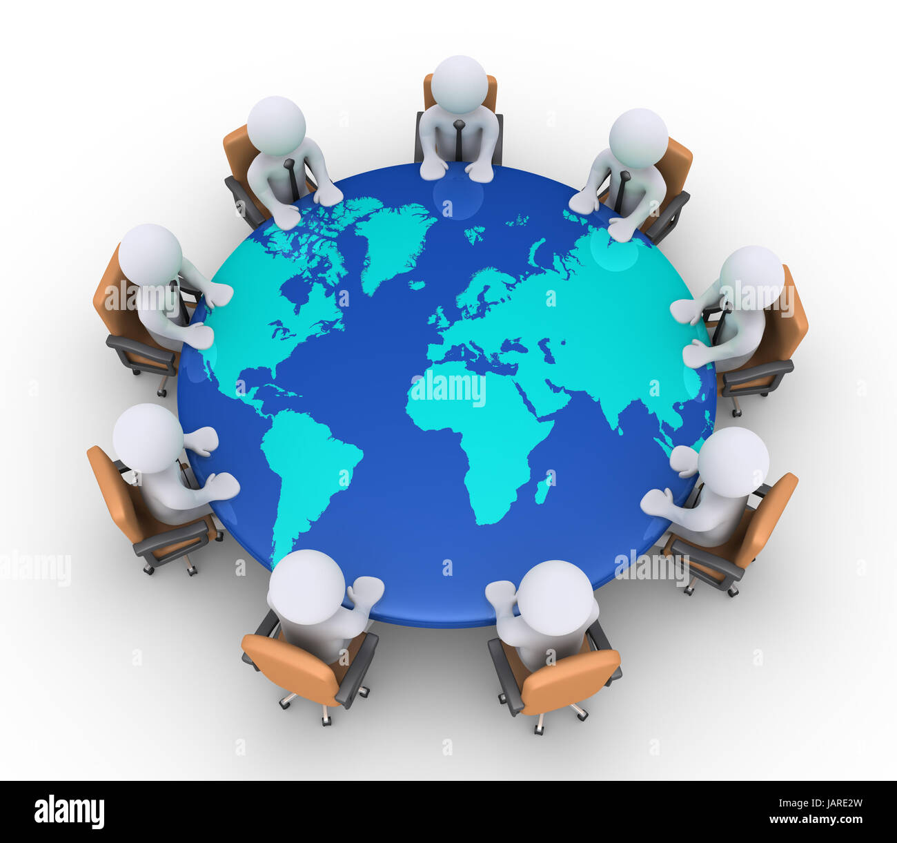 3d businessmen sitting on armchairs and a round table with the 3d businessmen sitting on armchairs and a round table with the world map gumiabroncs Images