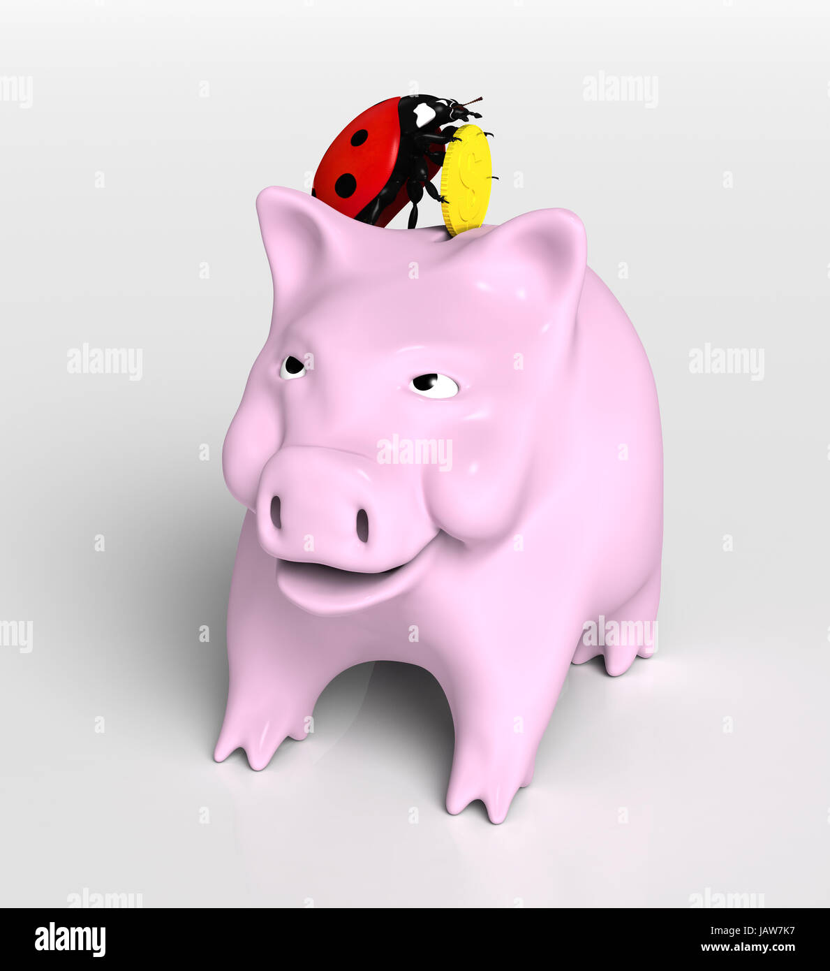 view of a ladybug on top of a piggy bank that stands up and puts a  - stock photo  view of a ladybug on top of a piggy bank that stands up andputs a golden coin into its slot on a neutral background