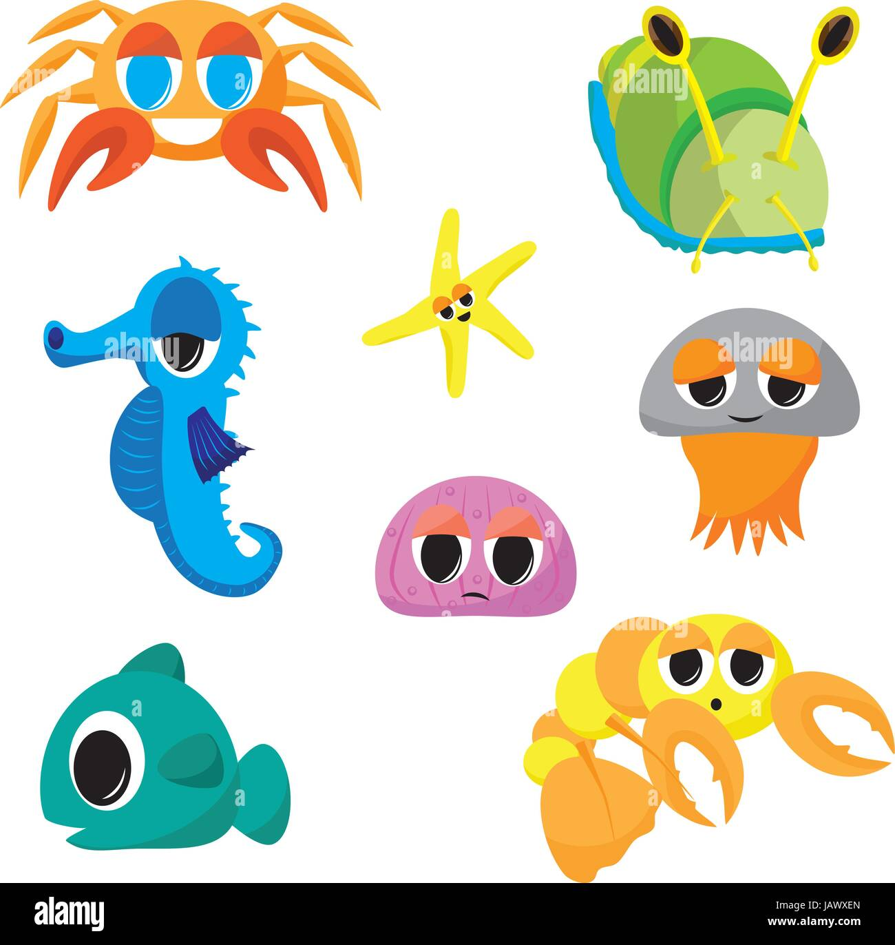 collection of cartoon sea creatures seahorse crab jelly fish