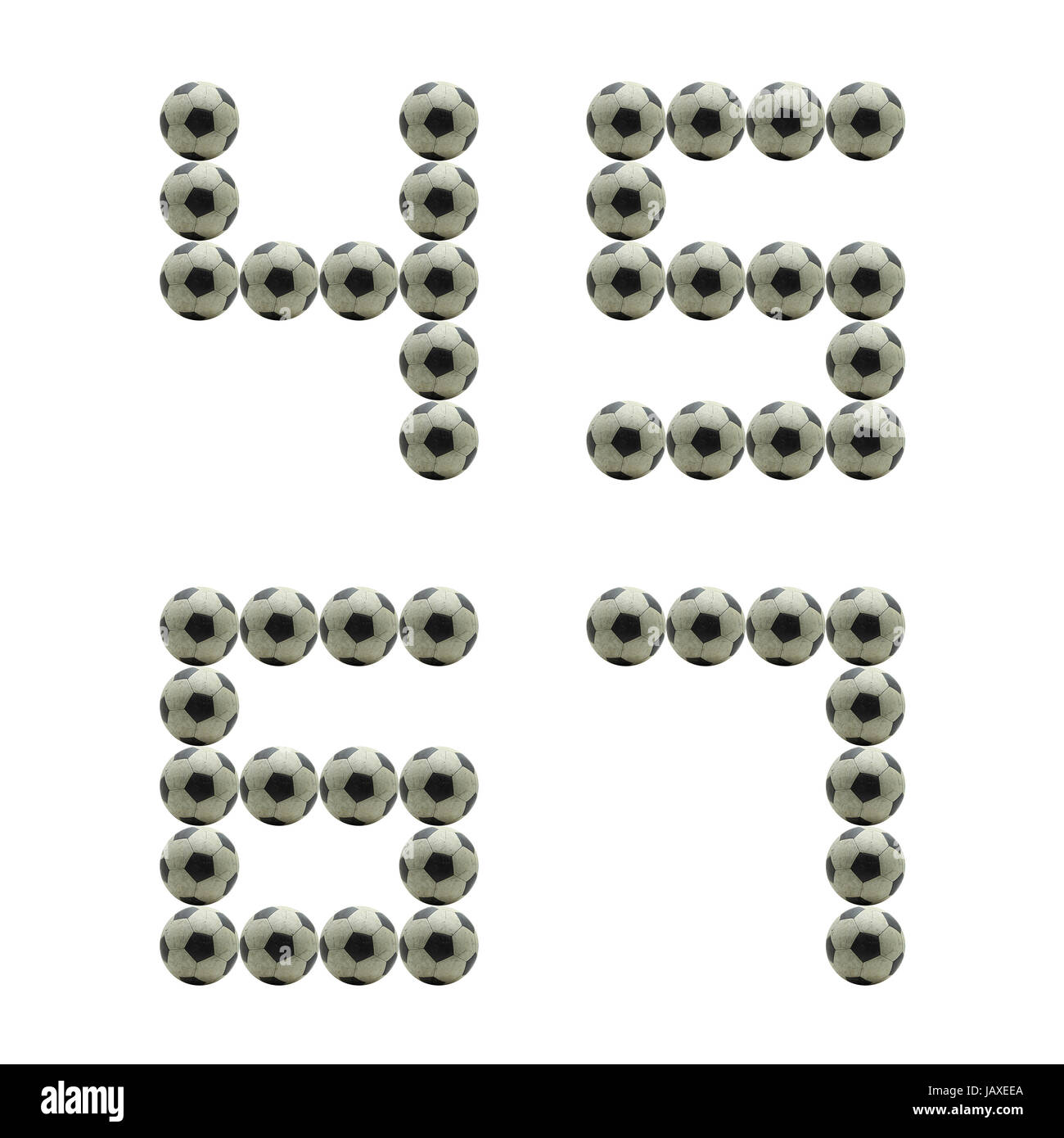 letter number 4 5 6 7 made from grunge scratch football isolated