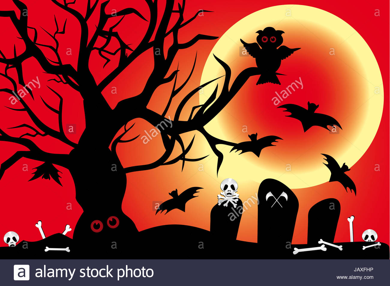 Illustration for Halloween-night with owl, bats under the blood ...