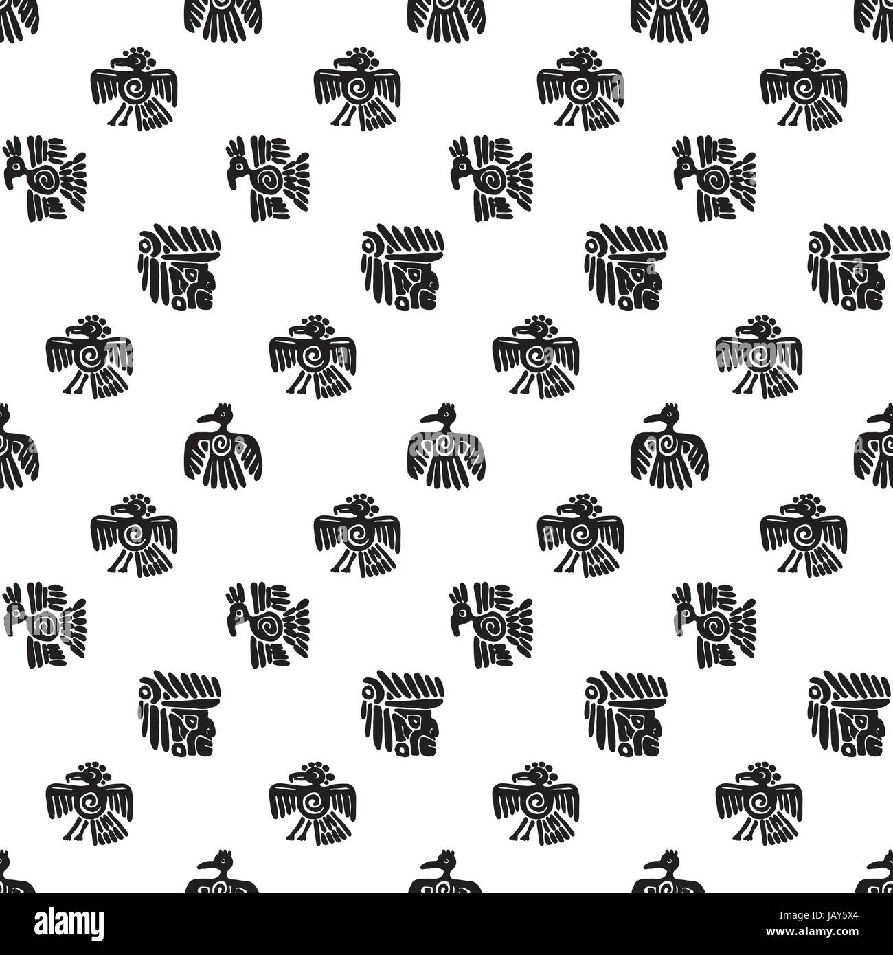 Seamless vector maya pattern black and white ethnic elements seamless vector maya pattern black and white ethnic elements tribal doodles ornament abstract ancient symbols birds animals and faces buycottarizona