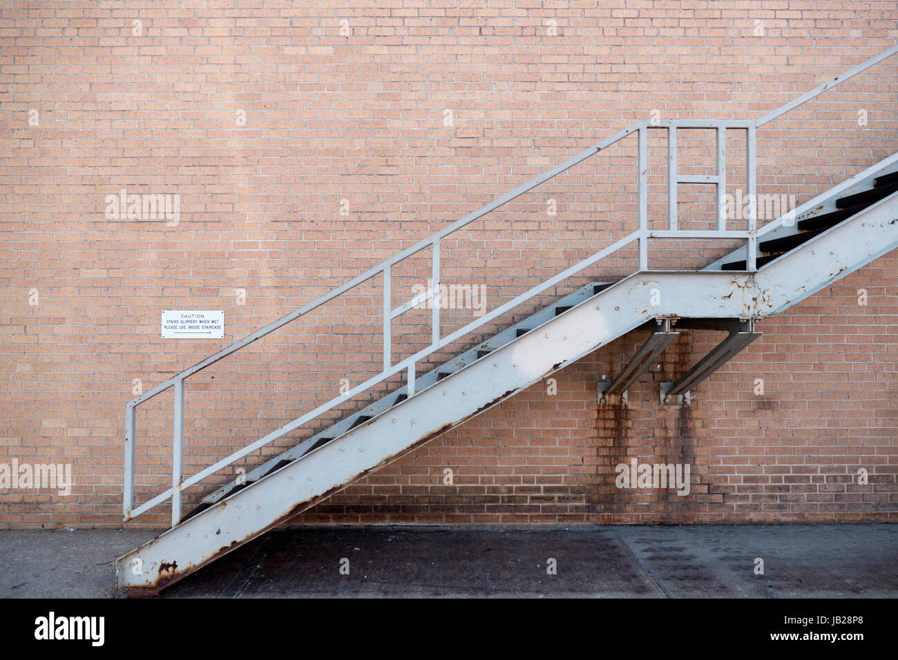 Metal Staircase On Exterior Brick Building Stock Photo, Royalty ...
