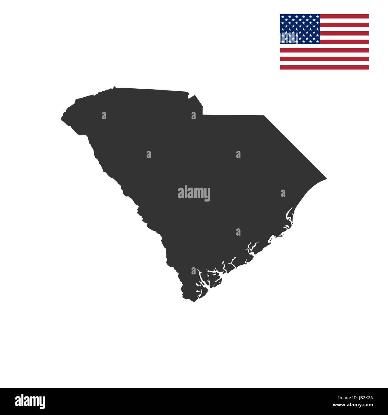map of the US state of South Carolina Stock Vector Art