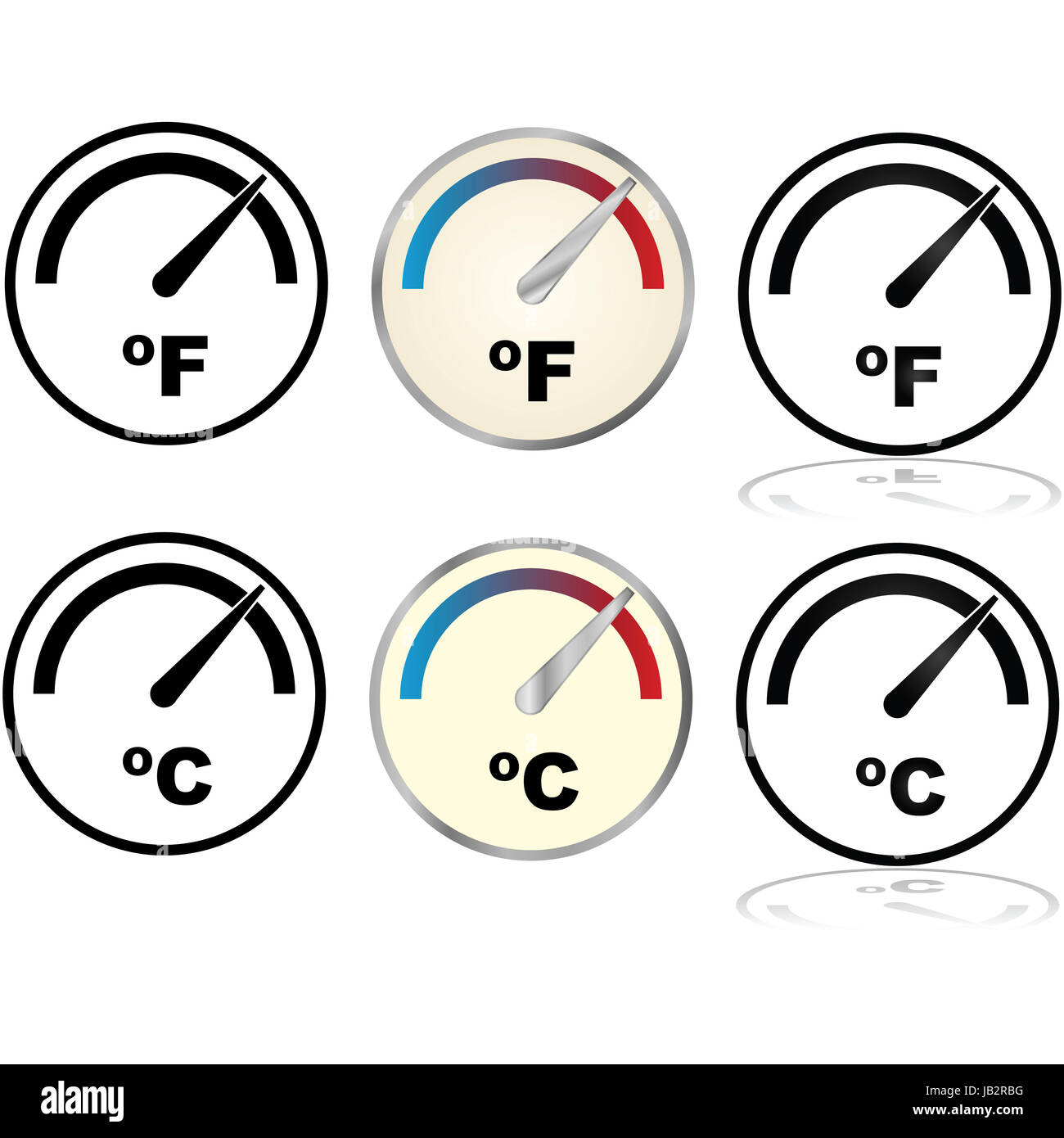 Illustration set showing icons for temperature displays in illustration set showing icons for temperature displays in fahrenheit and celsius biocorpaavc Choice Image