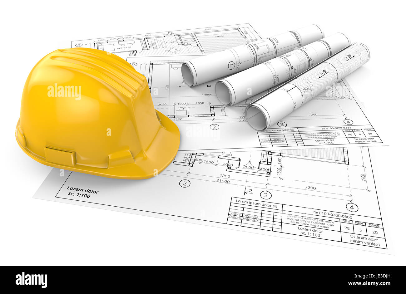 Yellow Hardhat On Top Of Generic Architectural Blueprints Drawings And Sketches 3 Rolls 3D Render