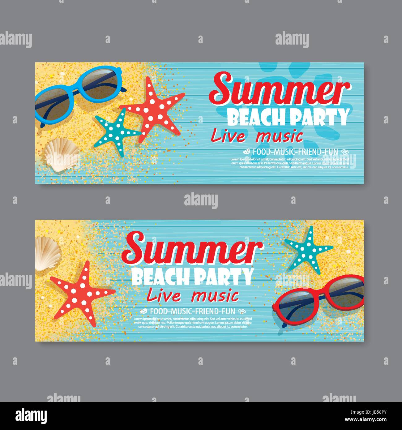 summer beach party invitation ticket template background Stock ...