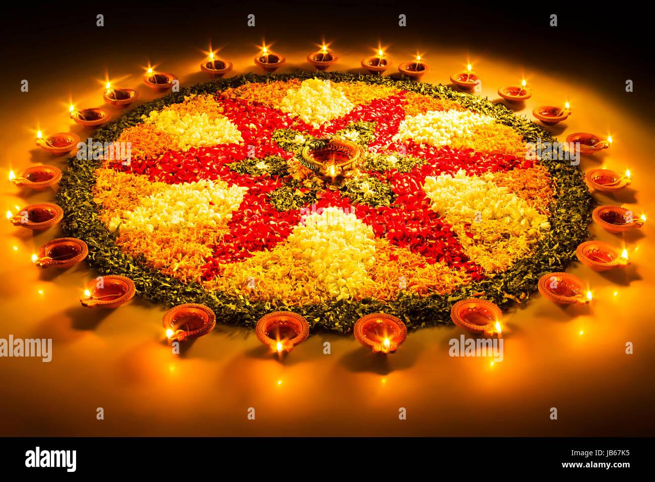 Deepavali Festival Lighting Diya Rangoli Design Celebration