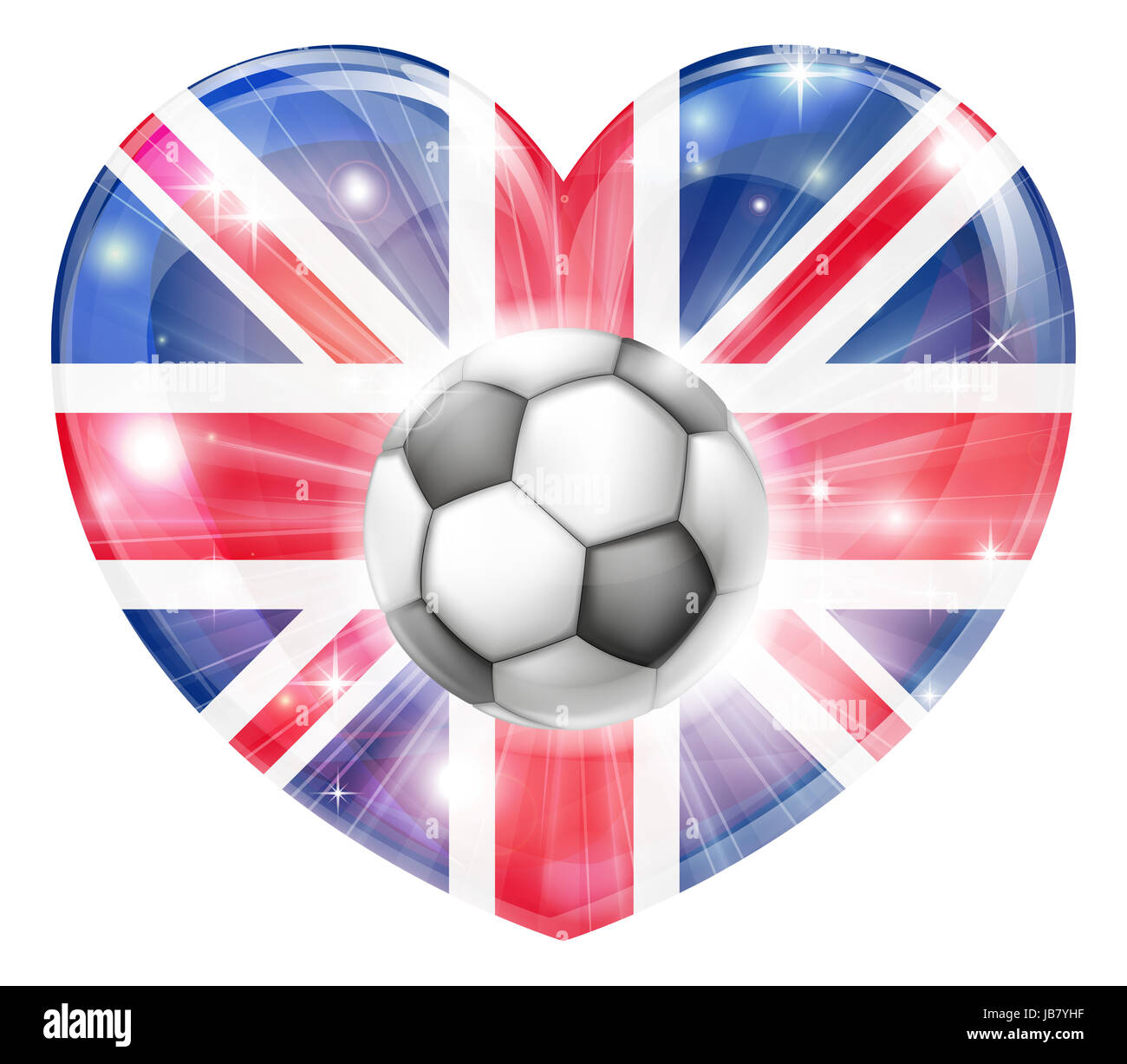 britain soccer football ball flag love heart concept with the