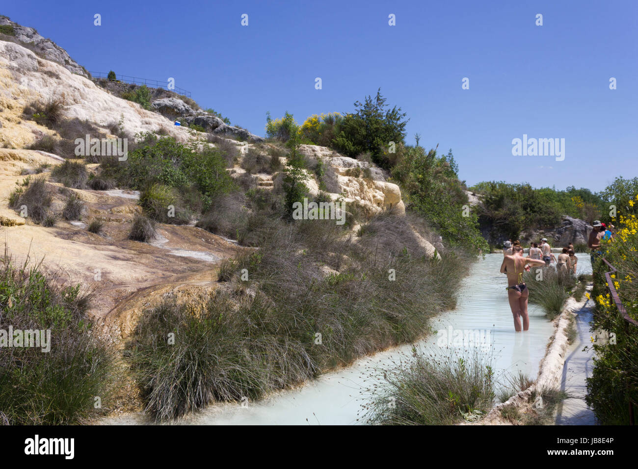 BAGNI VIGNONE, ITALY - JUNE 3 2017: The scenic hot spring pool of ...