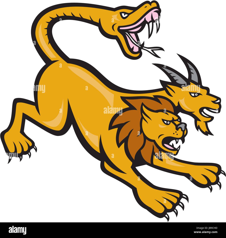 illustration of a chimera mythical creature of greek mythology