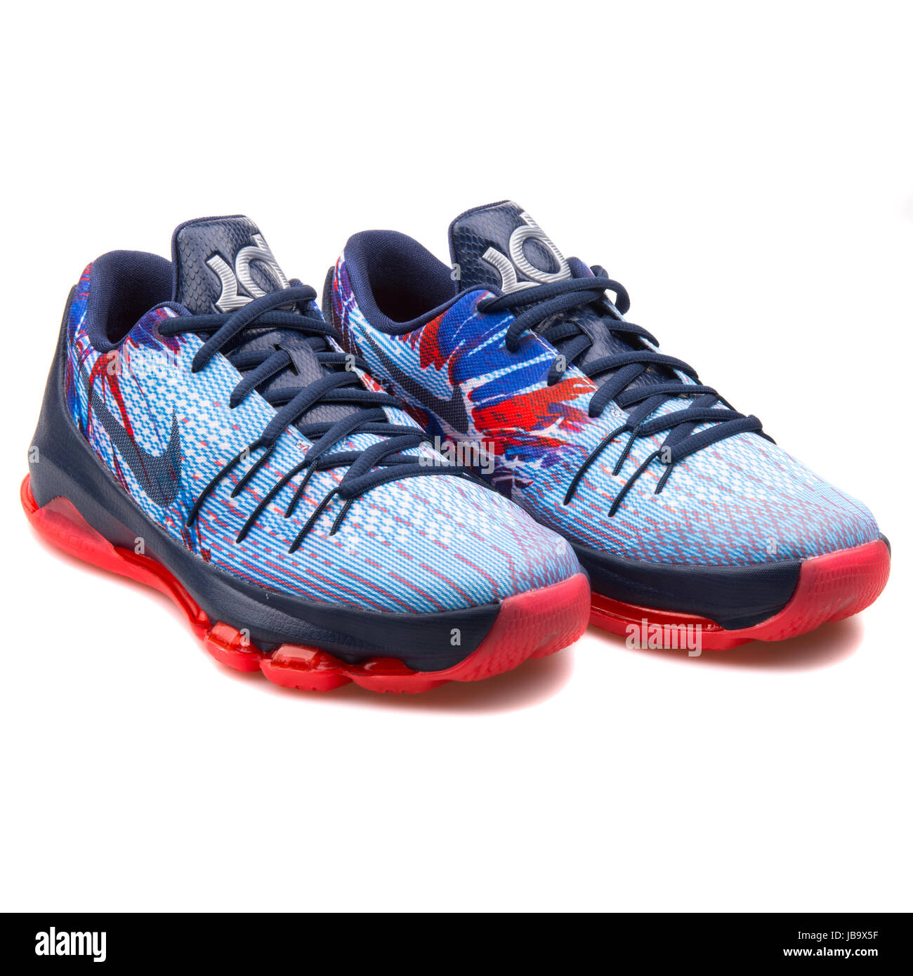 Nike KD 8 (GS) Navy Blue, Light Blue and Red Youth\u0027s Basketball Shoes -  768867-446