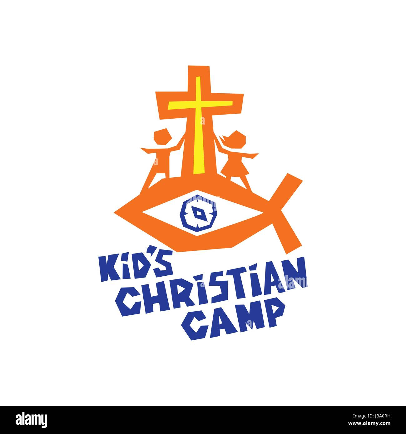 logo of kid u0027s christian camp fish the cross of jesus and the
