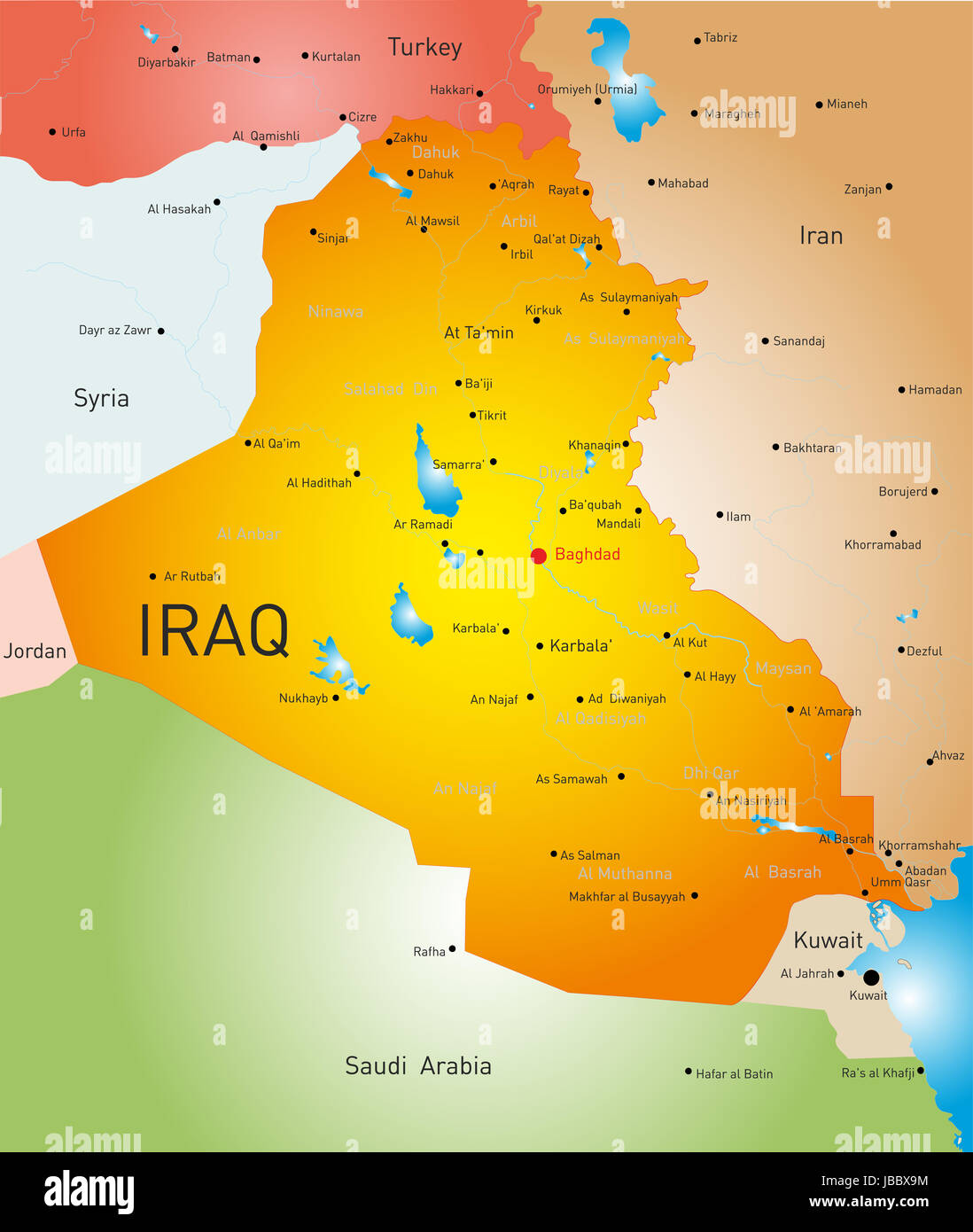 vector detailed map of iraq country. vector detailed map of iraq country stock photo royalty free