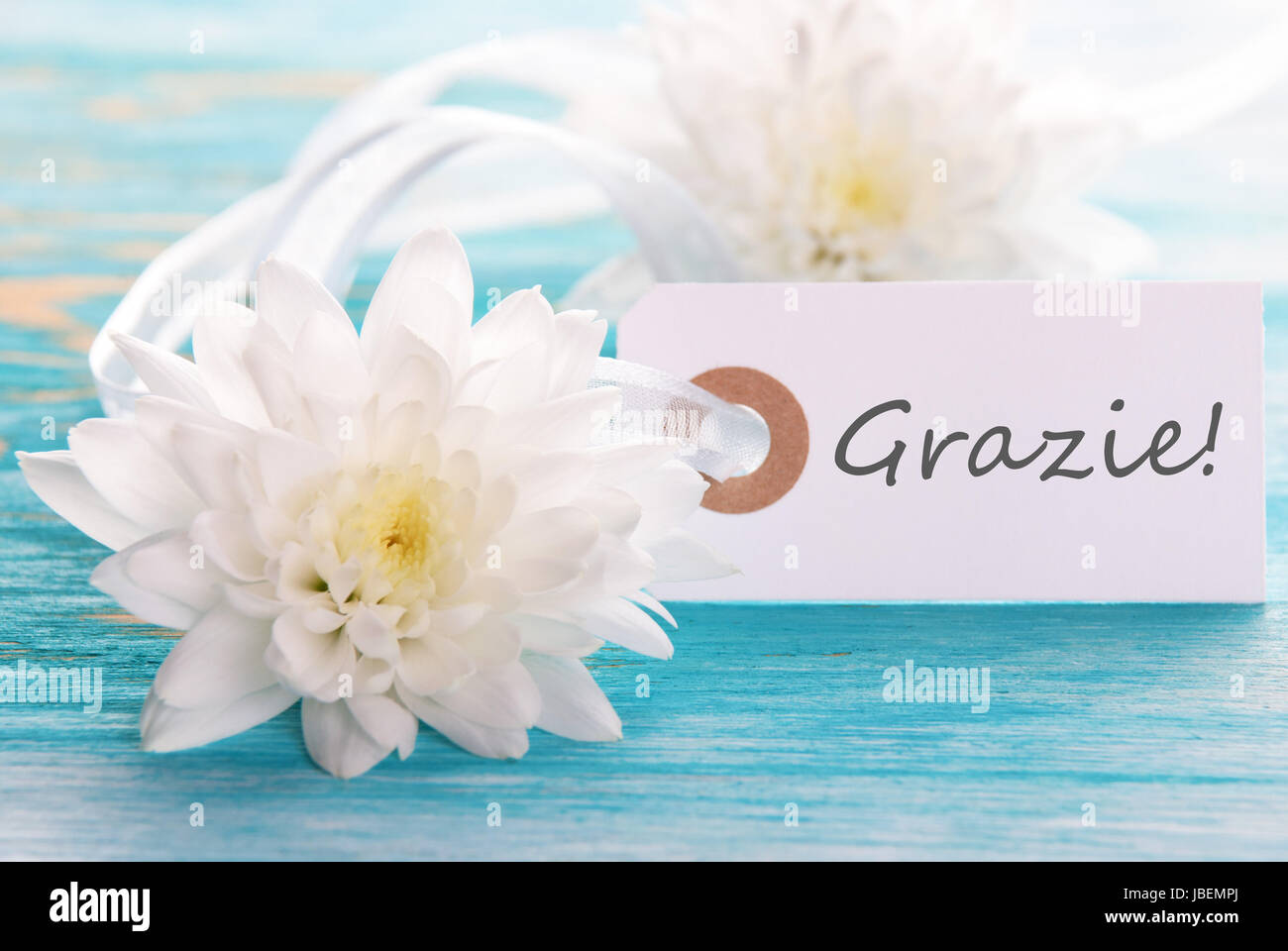 Label With The Italian Word Grazie Which Means Thanks On Turquiose
