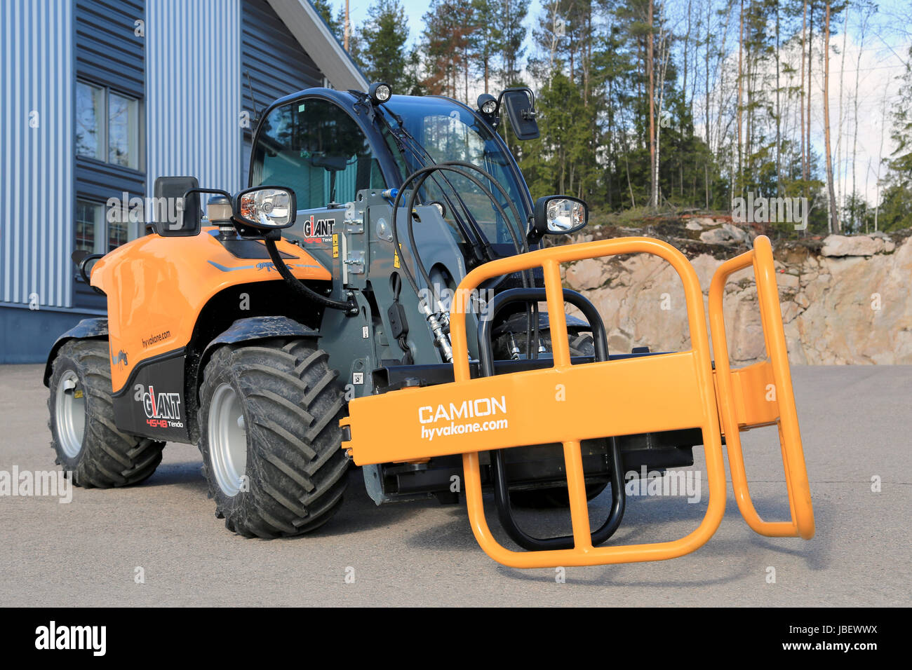 LIETO FINLAND - MARCH 22 2014: Giant 4548 Tendo telehandler with Stock Photo Royalty Free