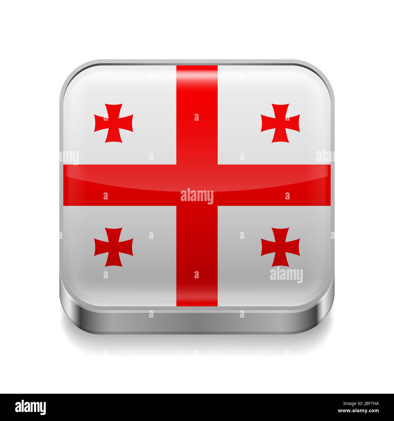 Metal square icon with Georgia flag colors Stock Photo Royalty