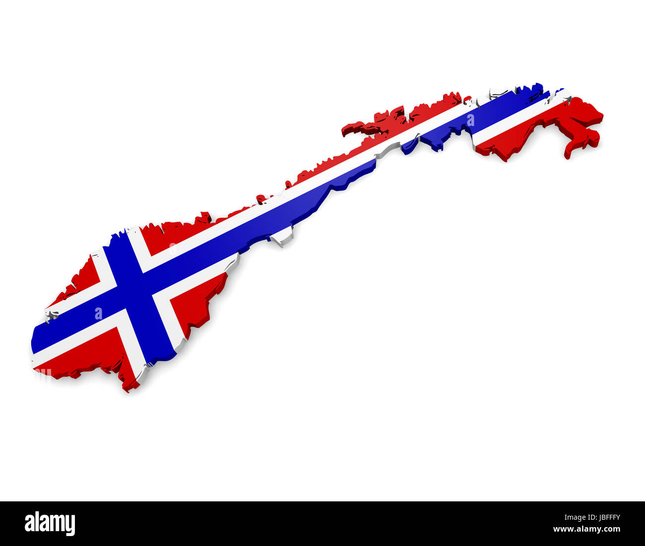 D Norway Map With Flag Illustration On White Background Stock - Norway map and flag