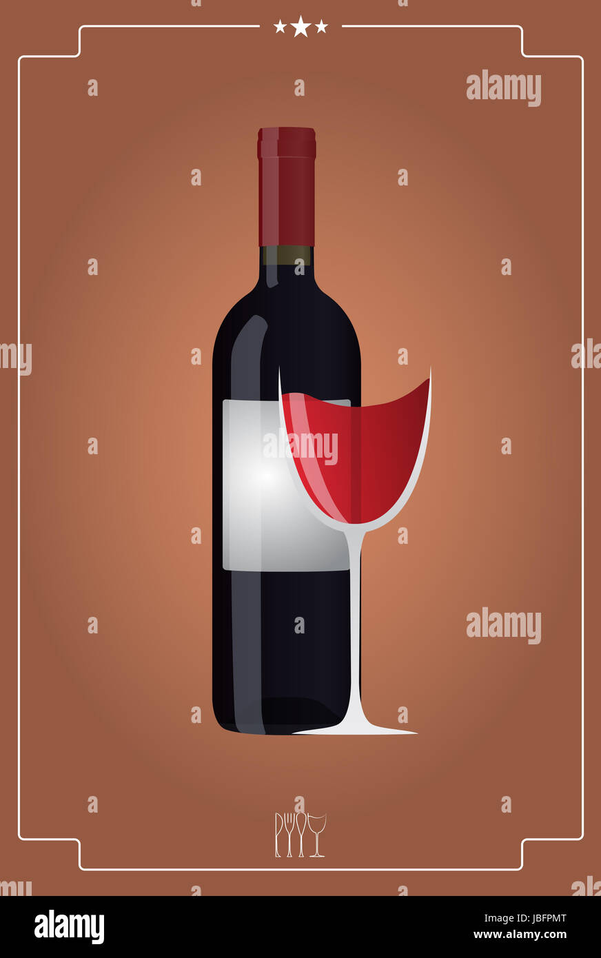 Illustration Of Red Wineglass And Bottle With Vintage Background