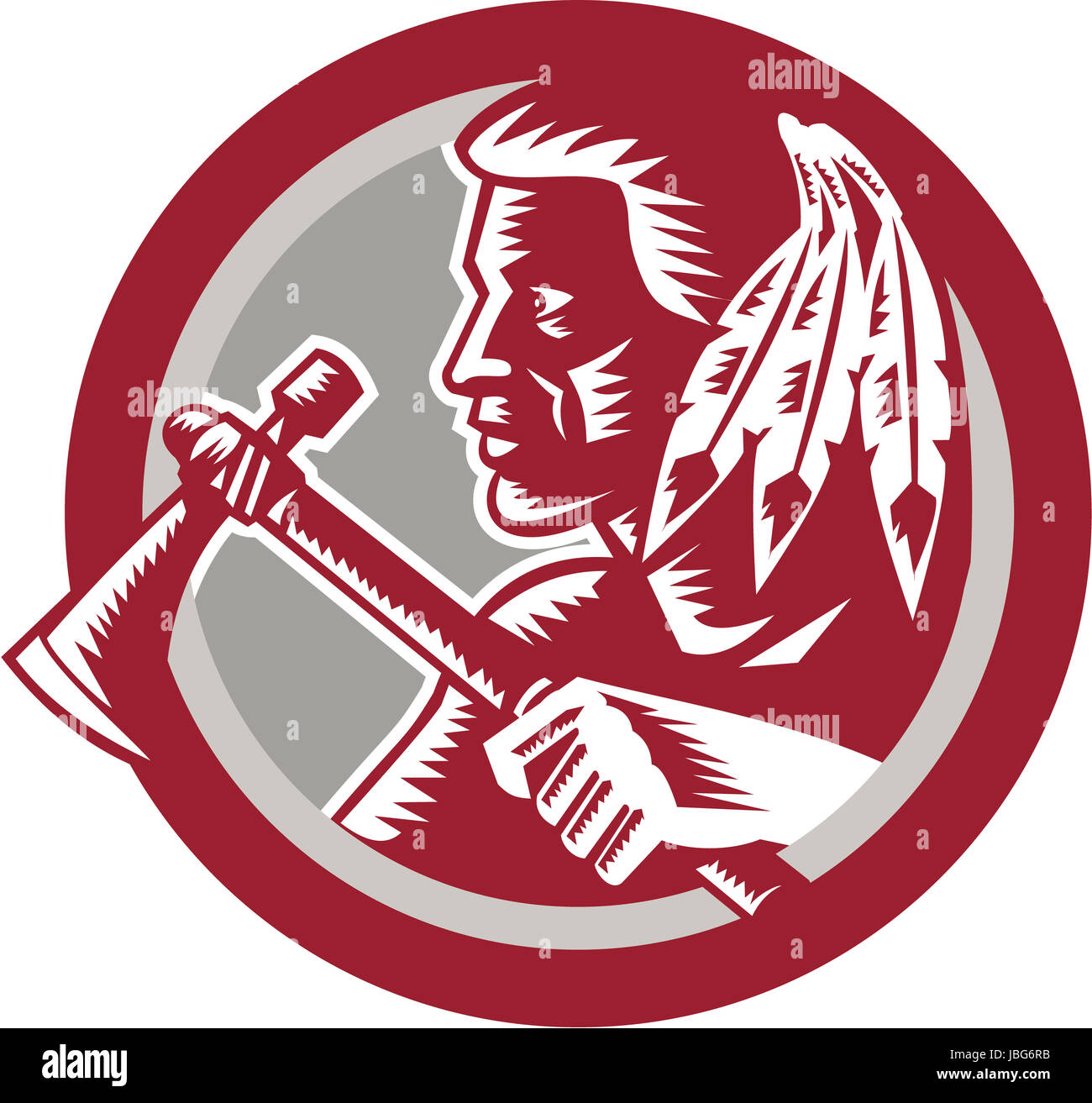 Illustration of a native american indian chief warrior holding a illustration of a native american indian chief warrior holding a tomahawk viewed from side set inside circle done in retro woodcut style on isolated white buycottarizona Images
