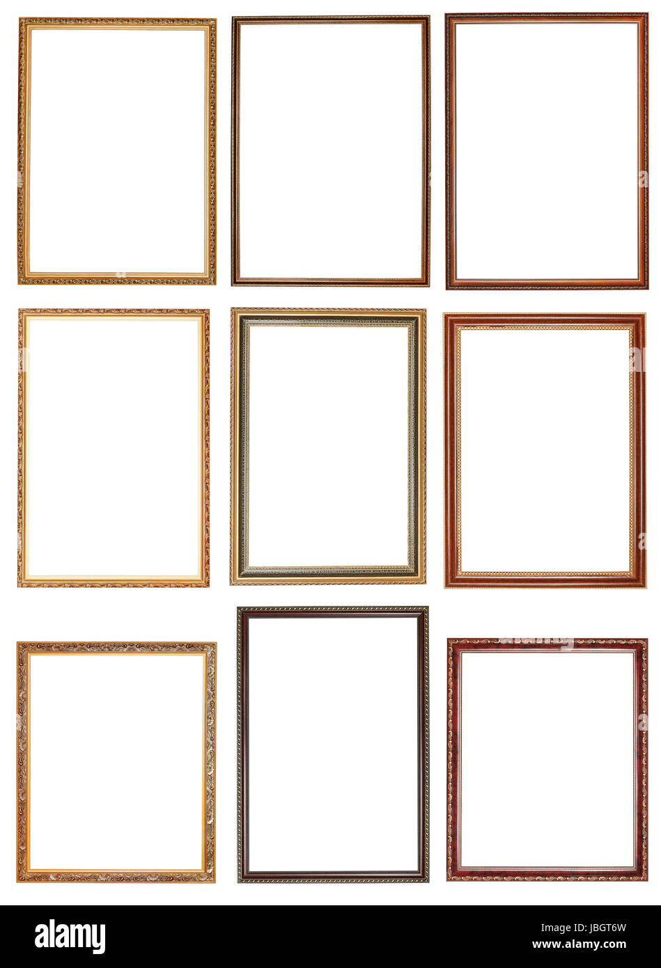 set of decorative narrow wooden picture frames with cut out canvas ...