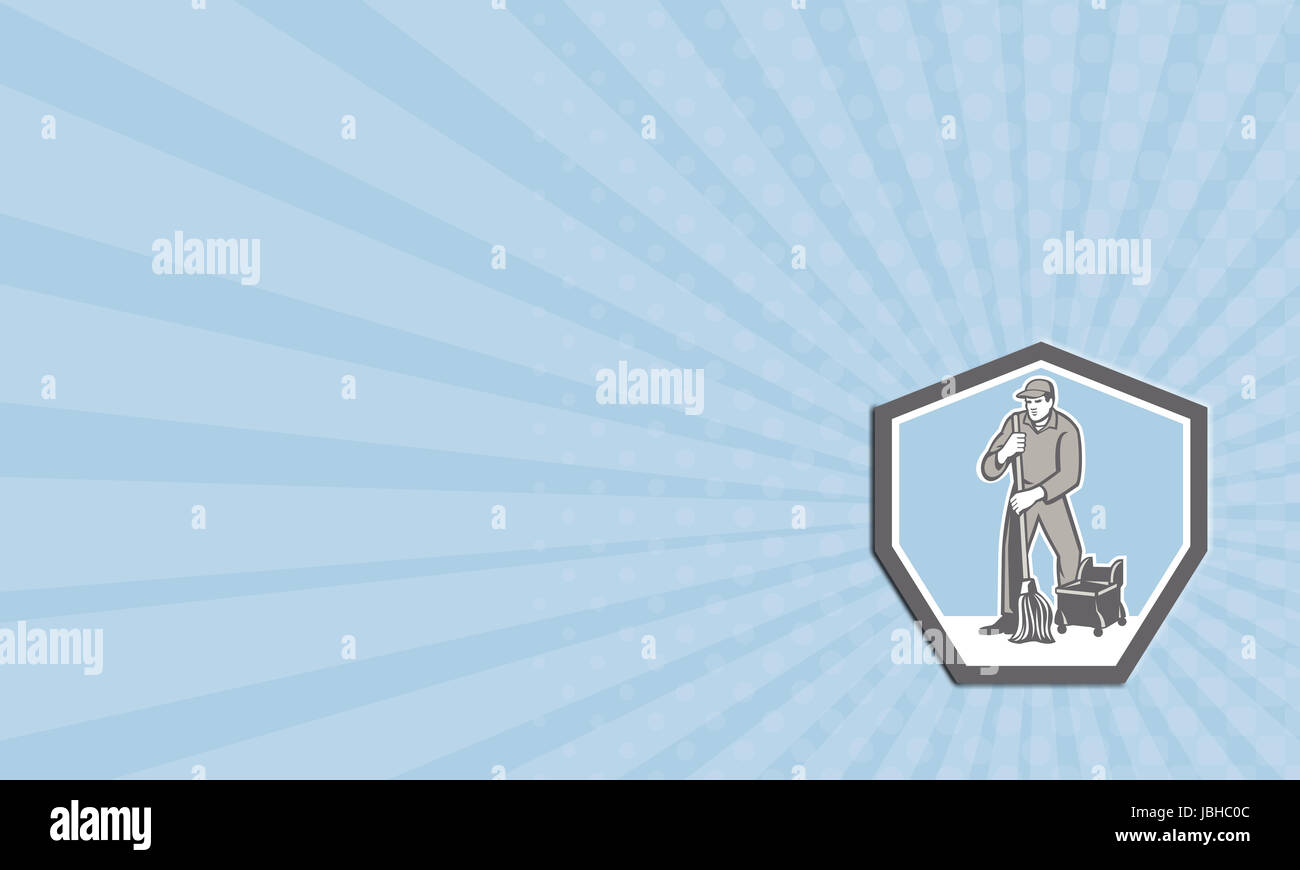 Business card illustration of a male cleaner janitor worker ...