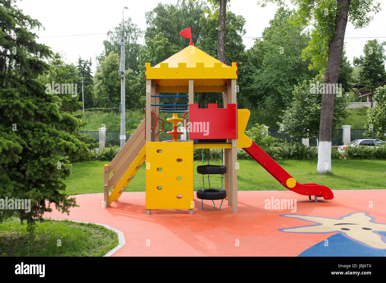 Modern Playground Equipment. Modern Colorful kids playground on ...