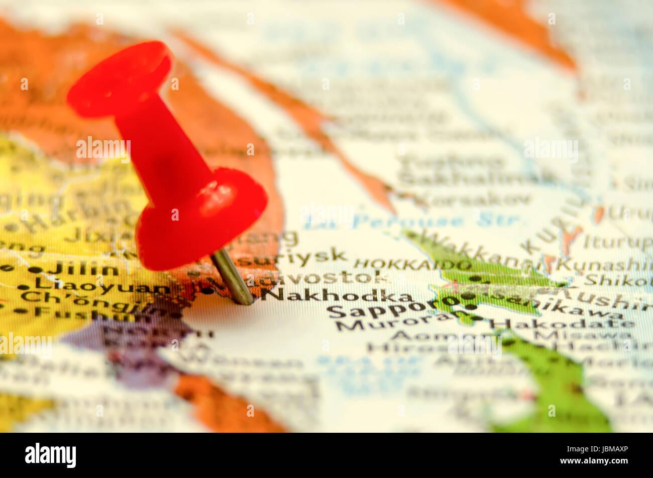 Nakhodka City Pin On The Map Stock Photo Royalty Free Image - Nakhodka map