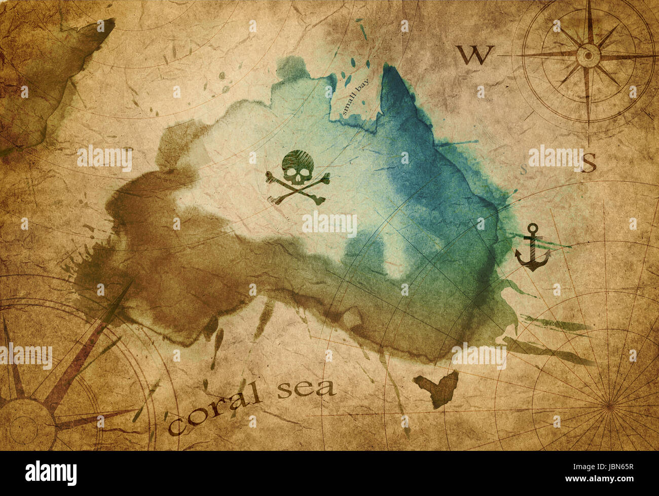 old parchment pirate island map Stock Photo, Royalty Free ...