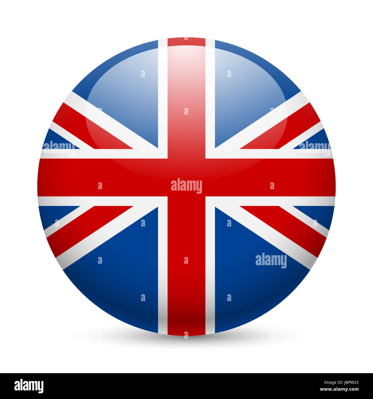 flag of great britain as round glossy icon button with british