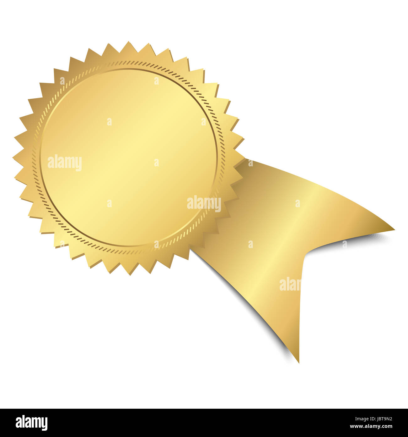 gold button with ribbon template Stock Photo, Royalty Free Image ...