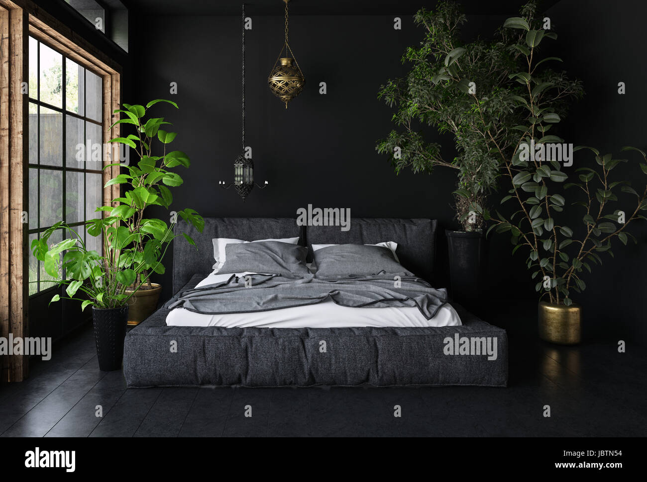 Wide Bed In Dark Room With Black Walls And Floor, Tall Potted Plants And  Big Window   Interior Design Concept. 3d Rendering