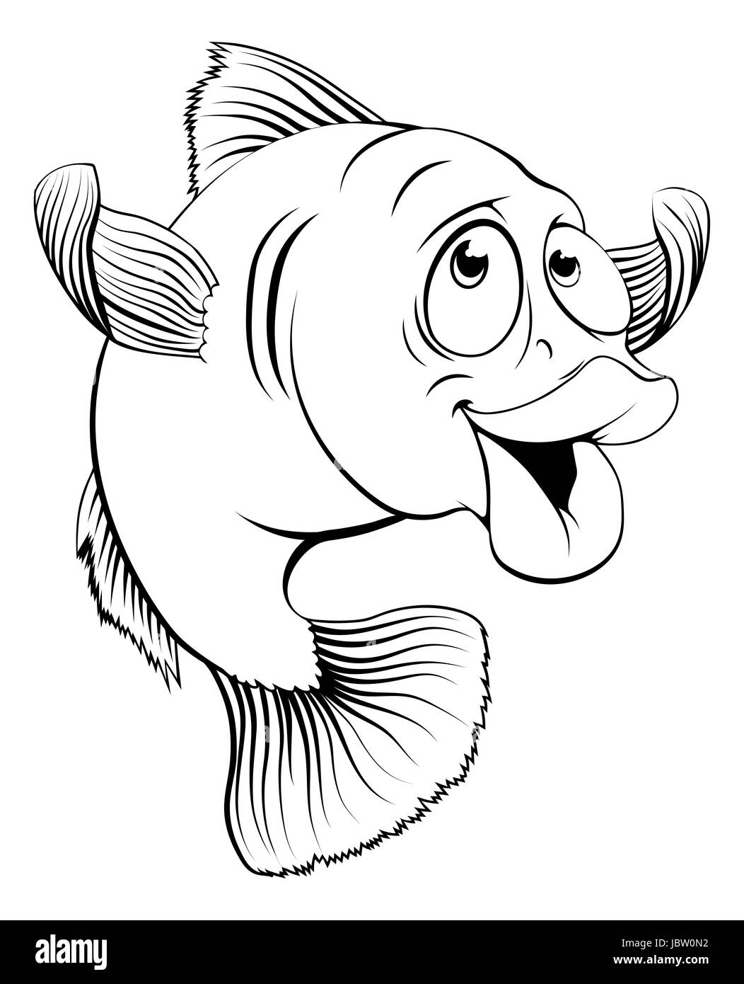 an illustration of a happy cute cartoon cod fish in black and