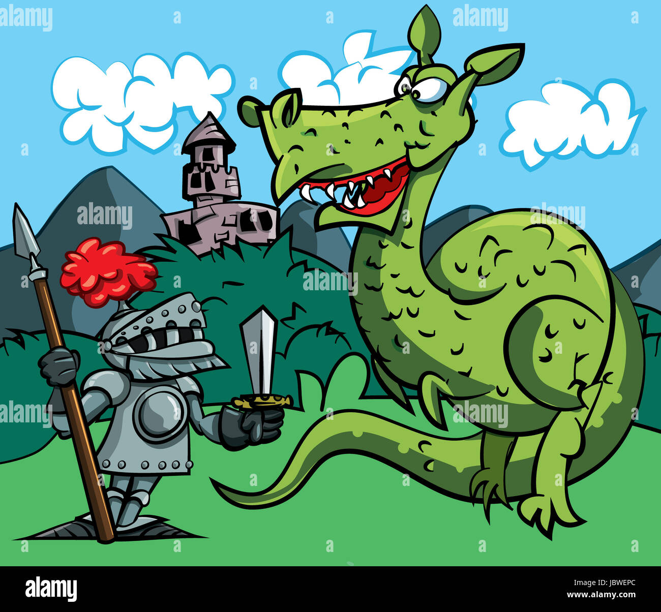 cartoon of a knight facing a fierce dragon a medieval castle in