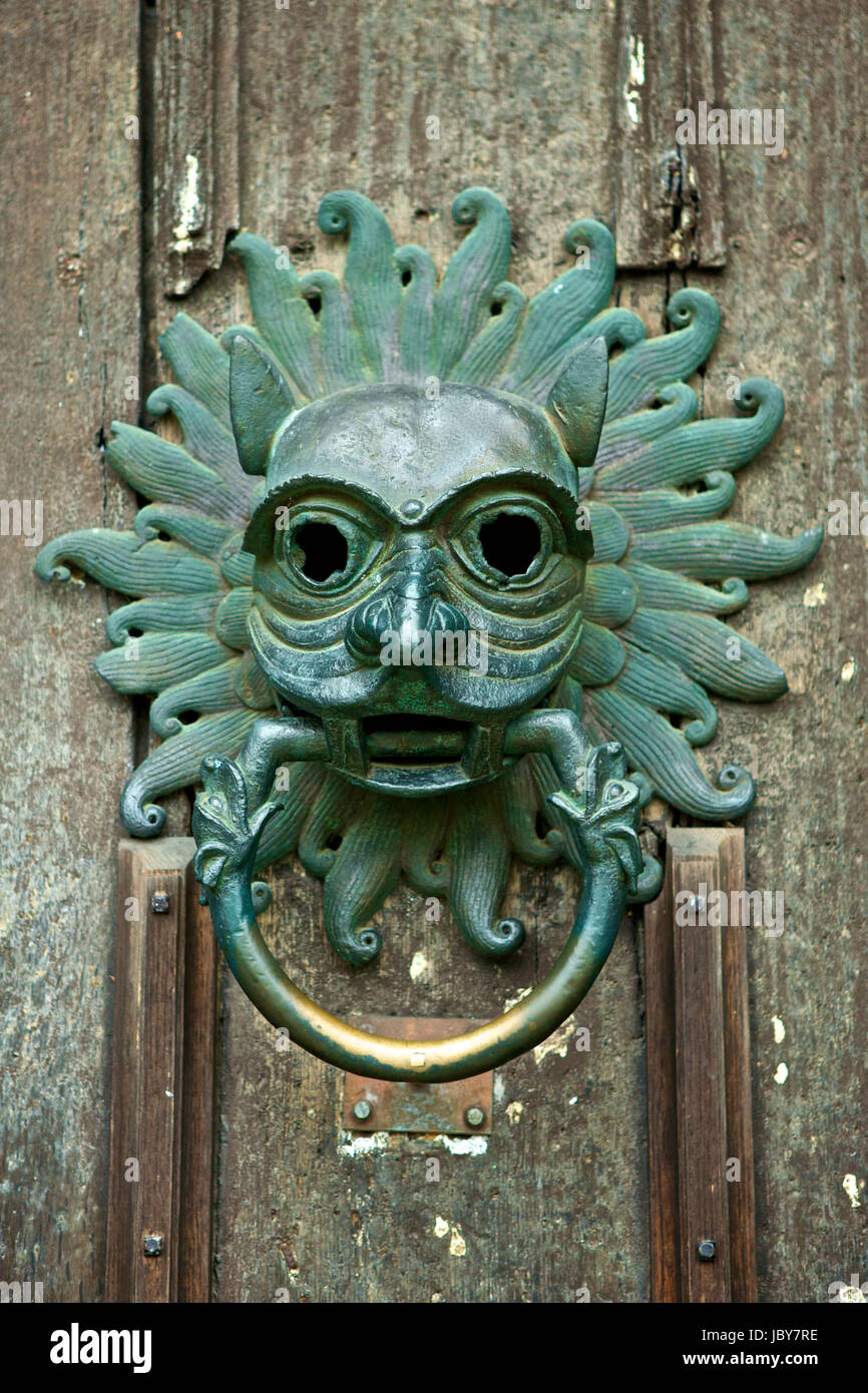 Antique door knocker at the front door of Durham Cathedral, England - Antique Door Knocker At The Front Door Of Durham Cathedral